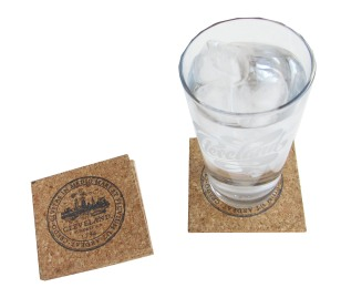 'City Seal' in Shimmer Black on Square Cork Coaster (Installed)