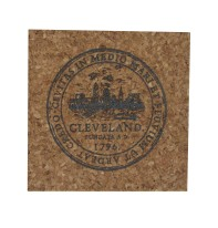 'City Seal' in Shimmer Black on Square Cork Coaster