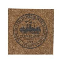 'City Seal' in Shimmer Black on Square Cork Coaster