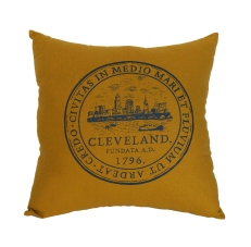 'City Seal' in Shimmer Grey on Honey Gold Pillow