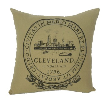 'City Seal' in Shimmer Grey on Khaki Flannel Pillow