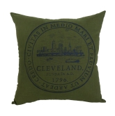 'City Seal' in Shimmer Grey on Olive Green Pillow