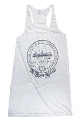 'City Seal' in Shimmer Grey on White American Apparel Tank Dress