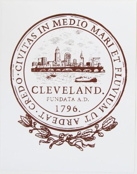 'City Seal' in Shimmer Walnut on 11x14 White Bristol