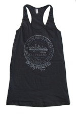 'City Seal' in Shimmer White on Asphalt Grey Racerback Tank Dress (Front)