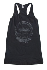 'City Seal' in Shimmer White on Asphalt Grey Racerback Tank Dress (Front)