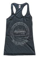 'City Seal' in Shimmer White on Heather Charcoal Racerback Tank