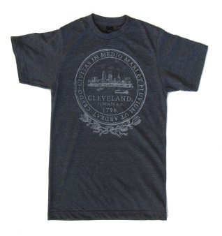 'City Seal' in Shimmer White on Heather Charcoal Unisex Tee