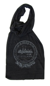 'City Seal' in Shimmer White on Tri-Black Scarf