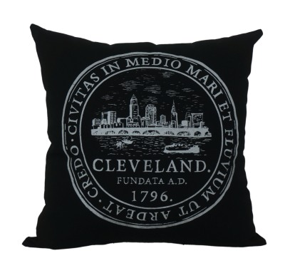 'City Seal' in White on Black Pillow