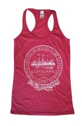 'City Seal' in White on Heather Fuchsia Racerback Tank