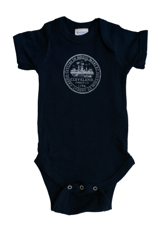 'City Seal' in White on Navy Baby Onesie