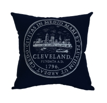 'City Seal' in White on Navy Pillow