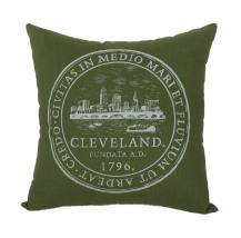 'City Seal' in White on Olive Green Pillow