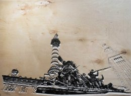 'Soldiers and Sailors', 22x30, Black and White Ink on Luan Wood, 2014