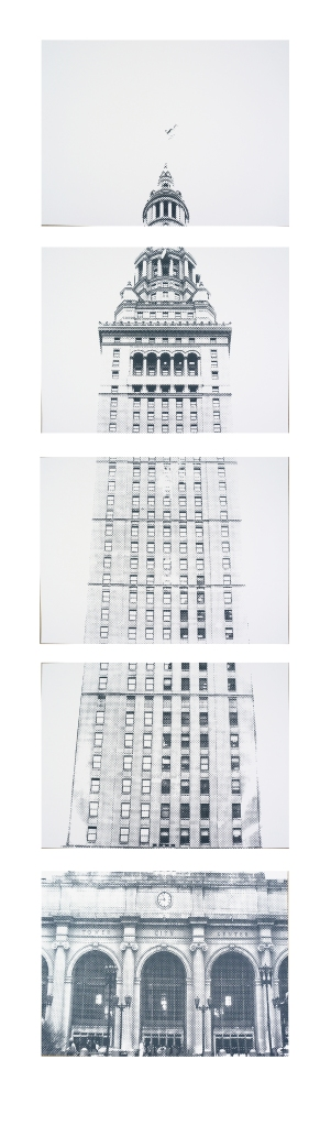 'Terminal Tower', five panel vertical (each panel is 18x24), Grey Ink on White Stonehenge, 2014