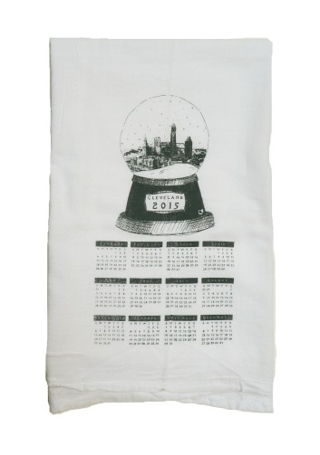 '2015 Cleveland Snow Globe' in Grey on White Tea Towel
