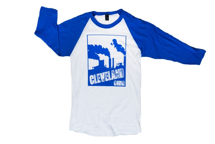 'Cleveland Smokestacks' on Royal and White Baseball Tee