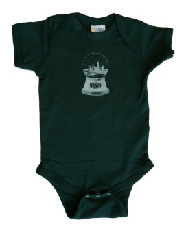 'Cleveland Snow Globe' in White on Forest Green Baby Onesie
