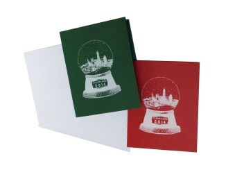 'Cleveland Snow Globe' in White on Red and Green Greeting Cards
