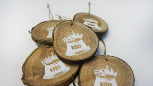 'Cleveland Snow Globe' in White on Wooden Ornament (Multiple 2)