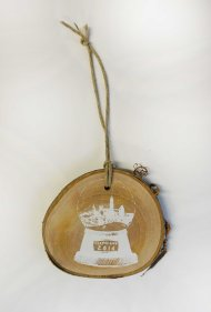 'Cleveland Snow Globe' in White on Wooden Ornament (Single)