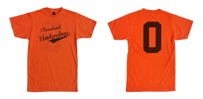 'Cleveland Underdogs' in Brown on Heather Orange Unisex Tee (Both)