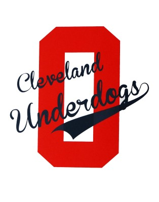 'Cleveland Underdogs' in Navy and Red on White 11x14 Paper Print