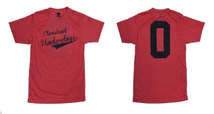 'Cleveland Underdogs' in Navy on Heather Red Unisex Tee (Both)