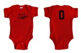'Cleveland Underdogs' in Navy on Red Baby Onesie (Both)