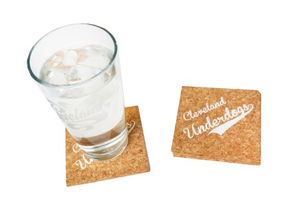 'Cleveland Underdogs' in White on Cork Coasters (Installed)