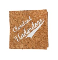 'Cleveland Underdogs' in White on Cork Coasters