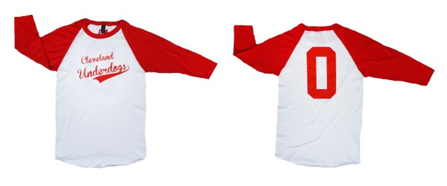 'Cleveland Underdogs' on White and Red Baseball Tee (Both)