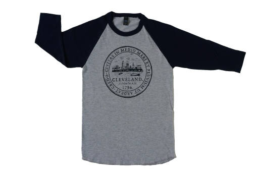 'City Seal' on Heather Grey and Navy Baseball Tee