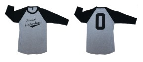 'Cleveland Underdogs' on Heather Grey and Black Baseball Tee (Both)