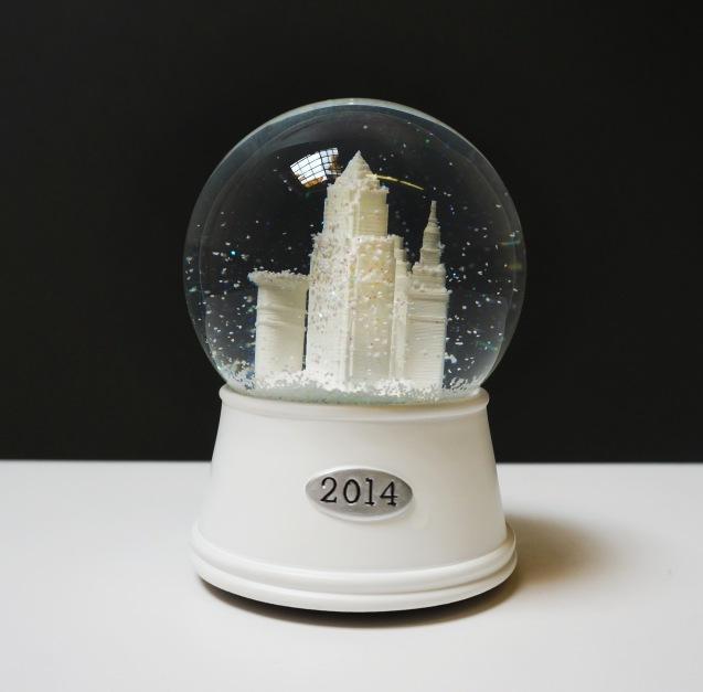'Downtown Cleveland' 2014 Snow Globe, White Base