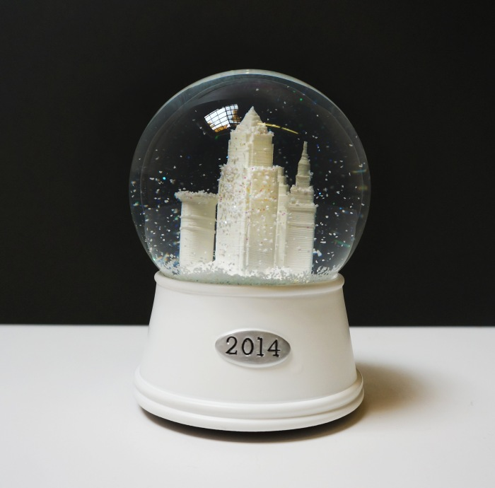 'Downtown Cleveland' 2014 Snow Globe, White Base