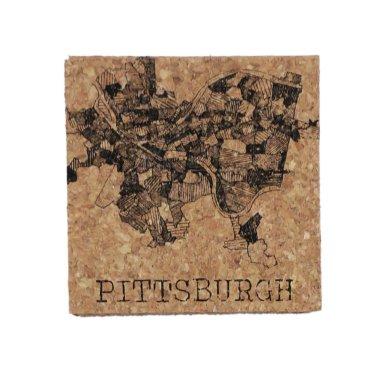 'Pittsburgh 1940 Map' on Cork Coaster