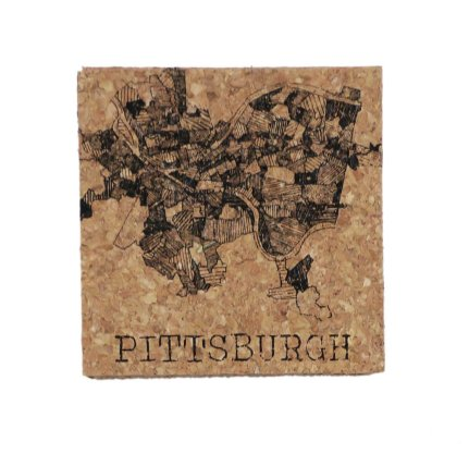 'Pittsburgh 1940 Map' on Cork Coaster