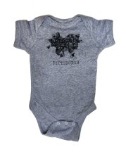 'Pittsburgh 1940 Map' on Heather Grey Onesie