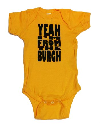 'Yeah I'm From the Burgh' in Black on Gold Onesie