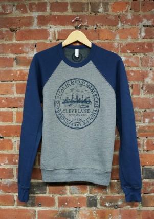 'City Seal' on Navy and Heather Grey Crew Neck Sweatshirt
