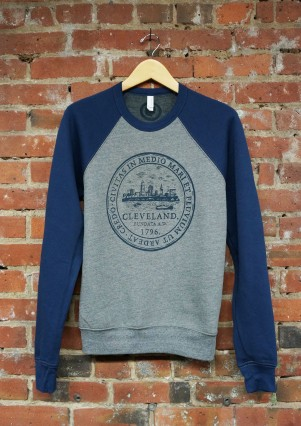 'City Seal' on Navy and Heather Grey Crew Neck Sweatshirt