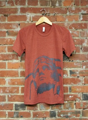 'Guardian' in Shimmer Gray on Clay Tri-Blend Unisex Tee