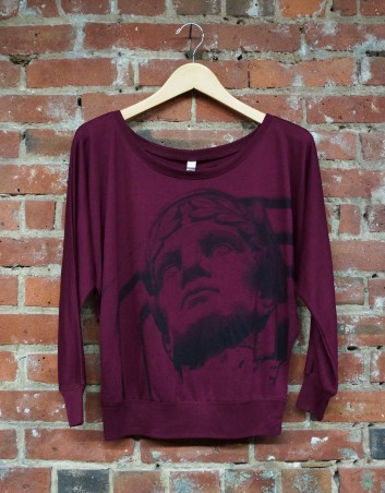 'Guardian' on Maroon Flowy Off Shoulder Top