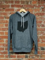 'Ohio State' in Black on Digital Gray Pullover Hoodie