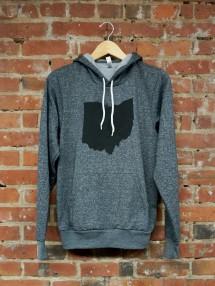 'Ohio State' in Black on Digital Gray Pullover Hoodie