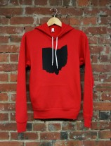 'Ohio State' in Black on Red Pullover Hoodie