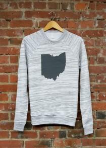 'Ohio State' in Gray on Light Gray Marble Crewneck Sweatshirt