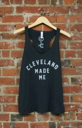 'Cleveland Made Me' on Solid Dark Grey TriBlend Racerback Tank